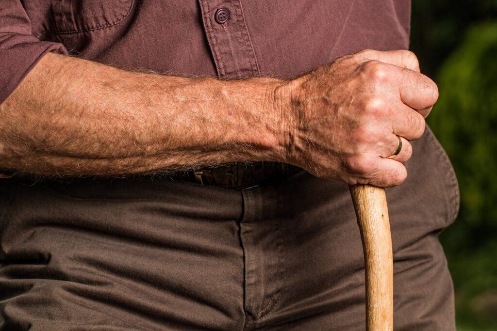 An old man with osteoarthritis